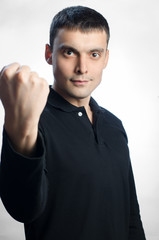 man showing his fist