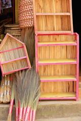 Wooden cupboards-wicker trays-brooms. Dhulikhel-Nepal. 1055