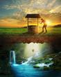 Leinwanddruck Bild - Well and water
