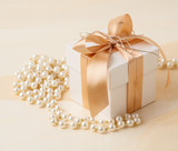 Gift box and pearl necklace.