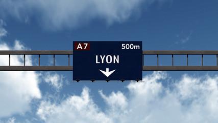 Lyon France Highway Road Sign