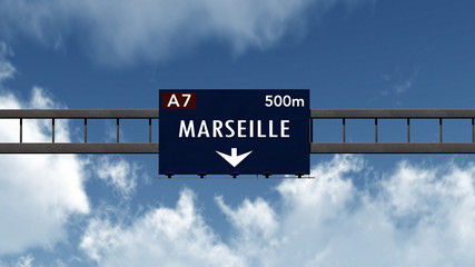 Marseille France Highway Road Sign