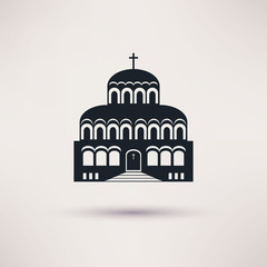 Church building a religious symbol vector icon.