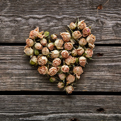 Rose flowers in a heart shape