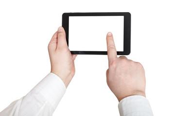 businessman finger press tablet pc