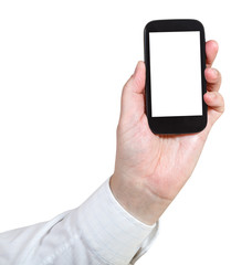 businessman holds mobile phone with cut out screen
