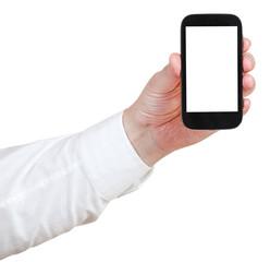 businessman holding touchscreen phone