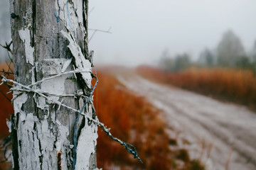Wooden post with razor wire
