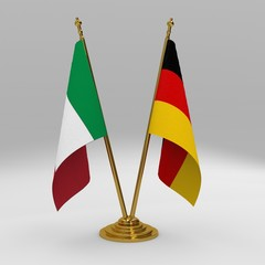 Italy and Germany double friendship table flag set
