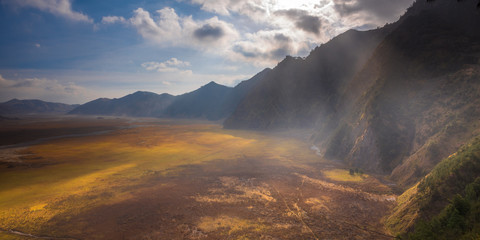 Indonesia, East Java, Rays of light at Bromo Tengger Semeru National Park
