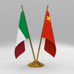 Italy and China double friendship table flag set