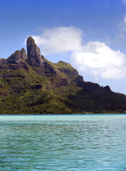 Azure lagoon of island Bora Bora, Polynesia. Mountains, the sea
