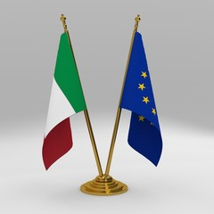 Italy and European Union double friendship table flag set