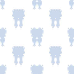 White teeth on a blue background. Seamless pattern.