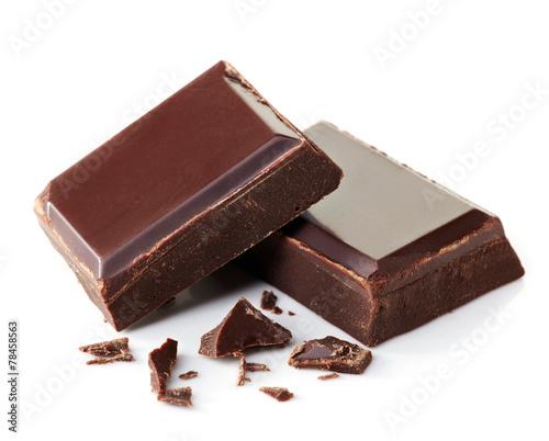 Papiers peints Dessert Pieces of dark chocolate