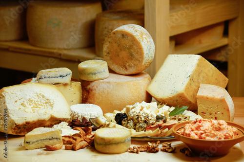 Assortment of organic gourmet cheeses
