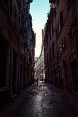 Italy, Roman street at sunrise