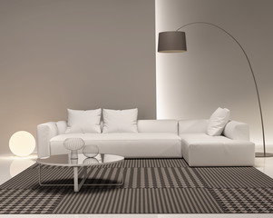 Contemporary minimal white and beige living room