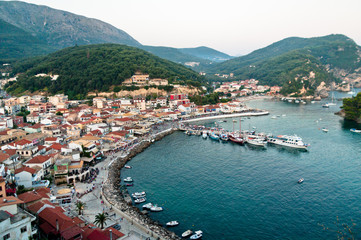 Greece, Parga, Harbor and waterfront townscape