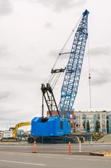 Crawler Crane at a Construction Site