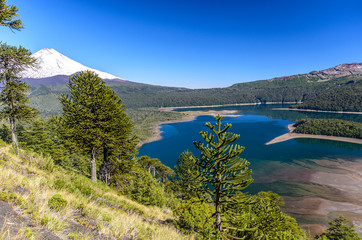 Chile, Sierra Nevada, Llaima lake in mountain valley
