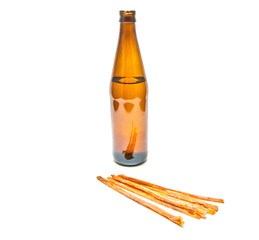 light beer in bottle and fish snack