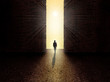 Man standing in front of the light