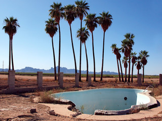 USA, Arizona, Harquahala Valley, Empty abandoned swimming pool with palm trees on background