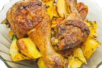 plate with tasty roast chicken and potatoes