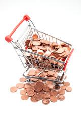 carro de compras con monedas