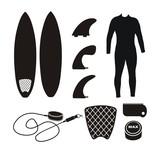 Fototapety surfboard equipment - silhouette