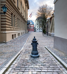 Medieval street in old Riga city, Latvia, Europe