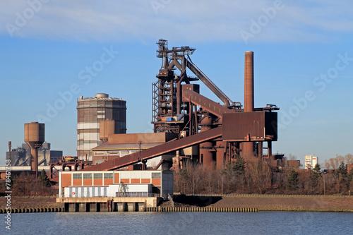 canvas print picture Stahlwerk, Industrieanlage in Deutschland