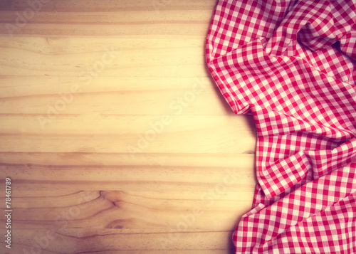 Papiers peints Table preparee tablecloth over wooden table with copy space