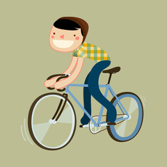 hipster riding fixie. boy riding road bike.