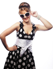 Young happy pin-up woman