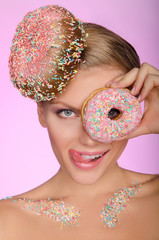 charming woman, donut on head and front of eye
