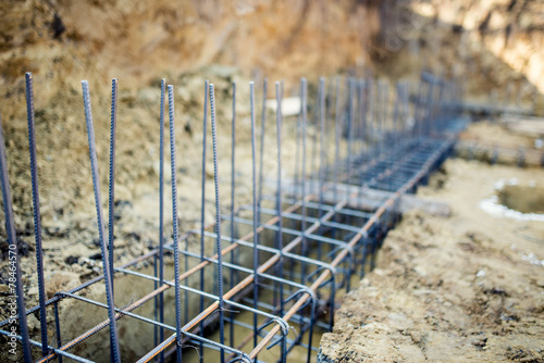 Foundation site of building, reinforcement steel bars and wire