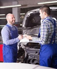 appraisal of damage for repairing car at  workshop