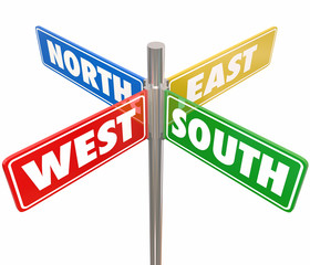 North South East West Road Signs Travel Direction 4 Way Route