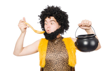 Funny caveman with pot isolated on white