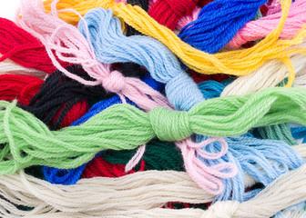 Closeup View of Bundles of Colorful Yarn