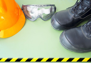 safety equipment placed on green