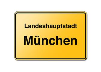 Ortsschild in München Willkommen