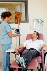 Patient giving nurse a smile