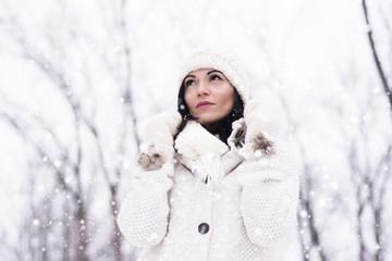 Woman wearing knitwear in the snow