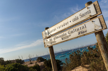 Signboard of Cala Saona