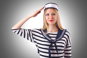 Woman sailor in marine concept