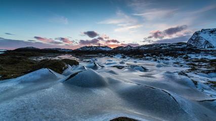 Frozen arctic scene timelapse pan