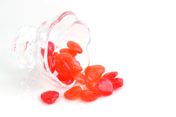 red hearts in a bowl of glass for Valentines